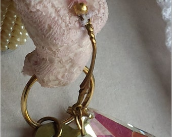Tiny Pink Laced Lingerie Porcelain FemaleTorso with Vintage Gems n Secret Key  Charm