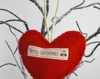 Merry Christmas - Handmade Red Felt Heart - twine hanging