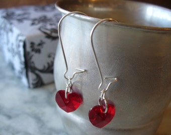 Siam Red Swarovski Crystal Heart Dangle Earrings, Red Earrings, Heart Earring, Silver jewelry, Heart Earring, Summer, Birthday Gift