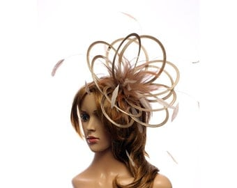 Taupe Nude Satin Feather Fascinator Hat - wedding, ladies day, Mother of the Bride - choose any colour feathers & satin