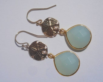 Sand dollar earrings beach wedding, beach bride, sanddollar earrings in 14kt gold filled, beach bridesmaid, summer earrings aqua chalcedony