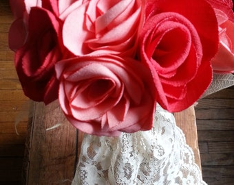 Mixed pink Fabric Rose Bouquet