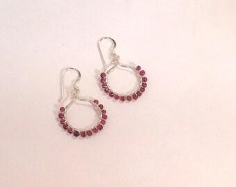 Sterling Silver Pink-Red Garnet Wire Wrapped Hoop Earrings