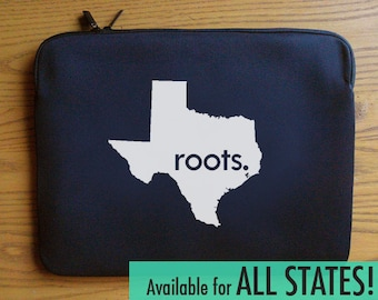 All States and Washington DC 'Roots' Neoprene Laptop Sleeve 13 or 15 inches