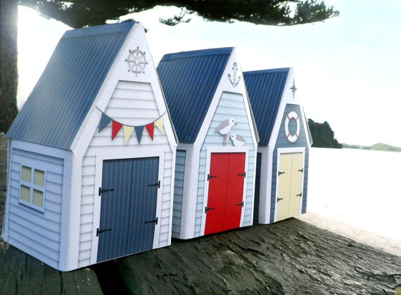3 PRINTABLE BEACH HUT Gift Boxes - Party Favor, Boat Shed, Beach House Red, White and Blue - Instant Download
