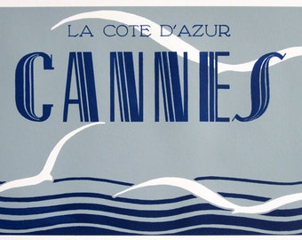 Art Deco : Cannes, France - Seascape with Seagulls - Original Design - limited edition screenprint