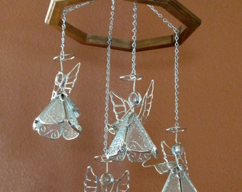 Angels with Instruments Mobile - Textured Clear Glass and Silver