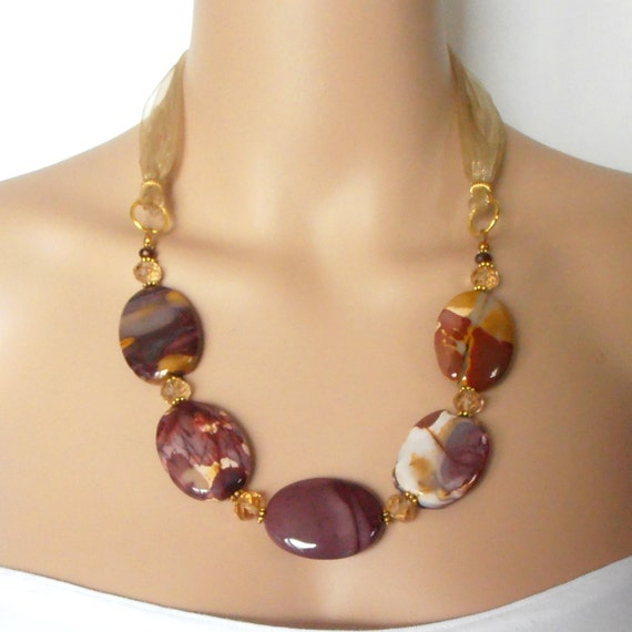 Chunky Gemstone Necklace Big Bead Jewelry Semi Precious Stone