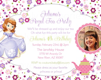 Princess Sofia the first - Princess Birthday tea party theme Invitation - Printable File