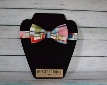 Bright Madras Plaid Adjustable Baby / Toddler / Child Bow Tie
