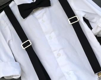 Childs Black Bow Tie, Little Boy bowtie, Black bowtie, Black suspenders, Childs suspenders, little boy braces, toddler bowtie, baby bow tie