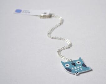Owl Necklace Pendant in Duck Egg Blue, Handmade Woodland Jewellery