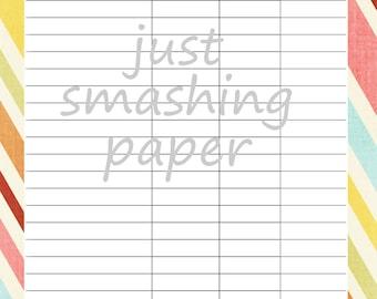 SaLE Instant download // PDF Printable Bill Pay Organizer Sheet Sorbet Colors