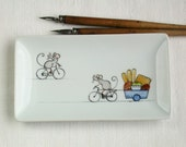 mouse bicycle and cakes, tray ring holder soap dish side plate, hand painted on porcelain