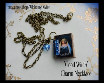Miniature Book Necklace, Good Witch Charm, Handmade, Swarovski Crystal, Art Deco Rhinestones, Bronze Chain. Made by Alchemy Divine Couture