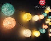20 Big Cotton Balls Pastel Night Tone Fairy String Lights Party Patio Wedding Floor Table or Hanging Gift Home Decoration