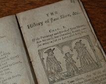Antique 18th century book pages, Secret Lives of the Most Celebrated Beauties, Captain Alexander Smith, Jane Shore, Fair Rosamund