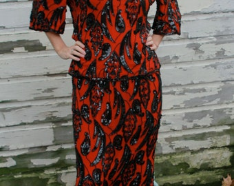 Vintage 80s Orient Express Red & Black Sequin Two - piece for the Countess