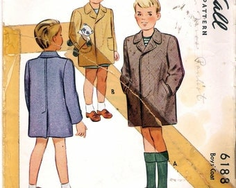 Vintage 1945 McCall 6188 WWII Boy's Coat Wartime Sewing Pattern Size 2 Chest 21""