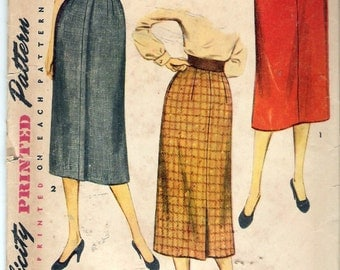 Vintage 1953 Simplicity 4491 Slim Skirt Sewing Pattern Size Waist 26""