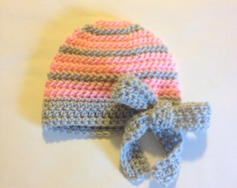 Big Bow Crochet Beanie