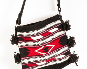 SALEBoho Kilim Bag with Leather Strap,Southwestern bag,Festival bag,Tribal print bag,Ethnic bag,Cross Body Bag,Wool bag