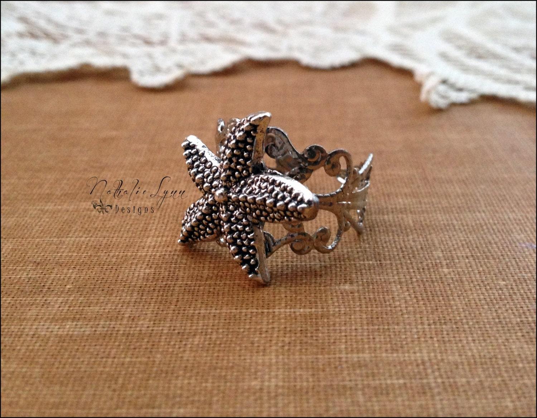 silver starfish ring starfish jewelry nautical jewelry