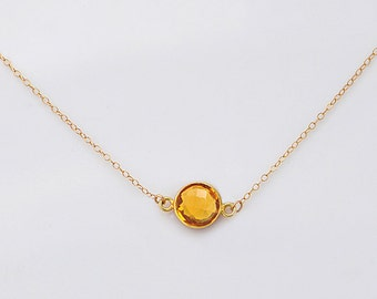 Custom Birthstone Necklace, Citrine necklace,  bezel set necklace, station necklace, gemstone necklace, gold necklace - silver necklace