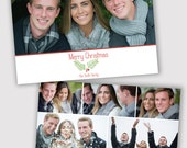 Holly Twigs, Holiday Photo Card Template, Photographers, PSD, WHCC, 5x7 flat and folded, christmas photo card