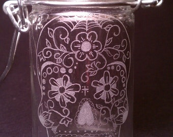 Day Of The Dead Sugar Skull  Hand Engraved Glass Stash Jar