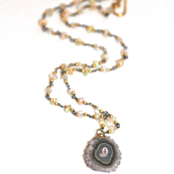 Natural Stalactite Necklace Opal Necklace Amethyst Necklace Raw Necklace The Artisan Group Stalactite Jewelry Opal Jewelry Celebrity Jewelry