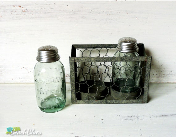 Small Mason Jar Salt And Pepper Shakers Chicken By Beachblues