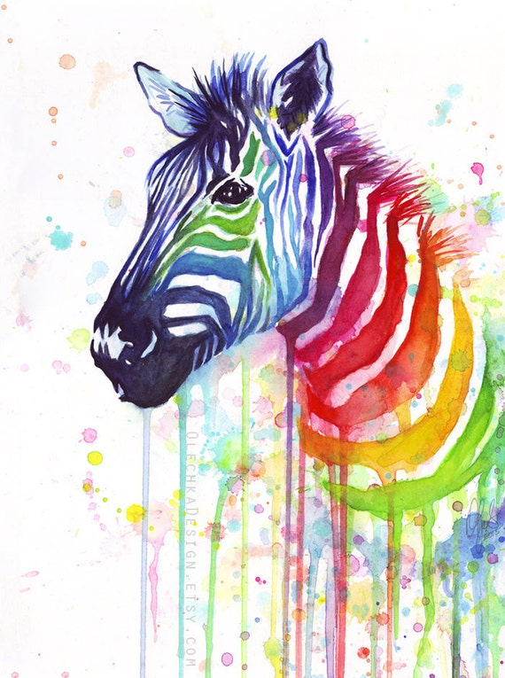 Watercolor Painting, Rainbow Zebra, Colorful Animal Art Print, Nursery Art, Home Decor