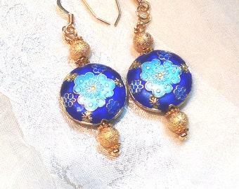 Upcycled Vintage Earrings Blue & Gold Tibetan Clouds Cobalt and Sky Blue Original Design