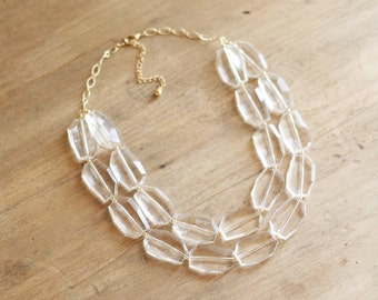 Clear Statement Necklace, Clear Beaded Necklace, Chunky Clear Bib Necklace, Double Strand Clear Necklace, Bridal Necklace