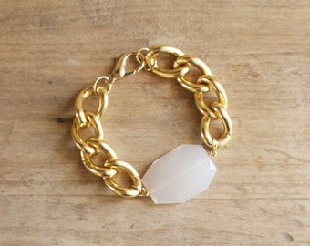 Chunky Gold Chain Bracelet with Translucent White Charm, Lightweight Bracelet