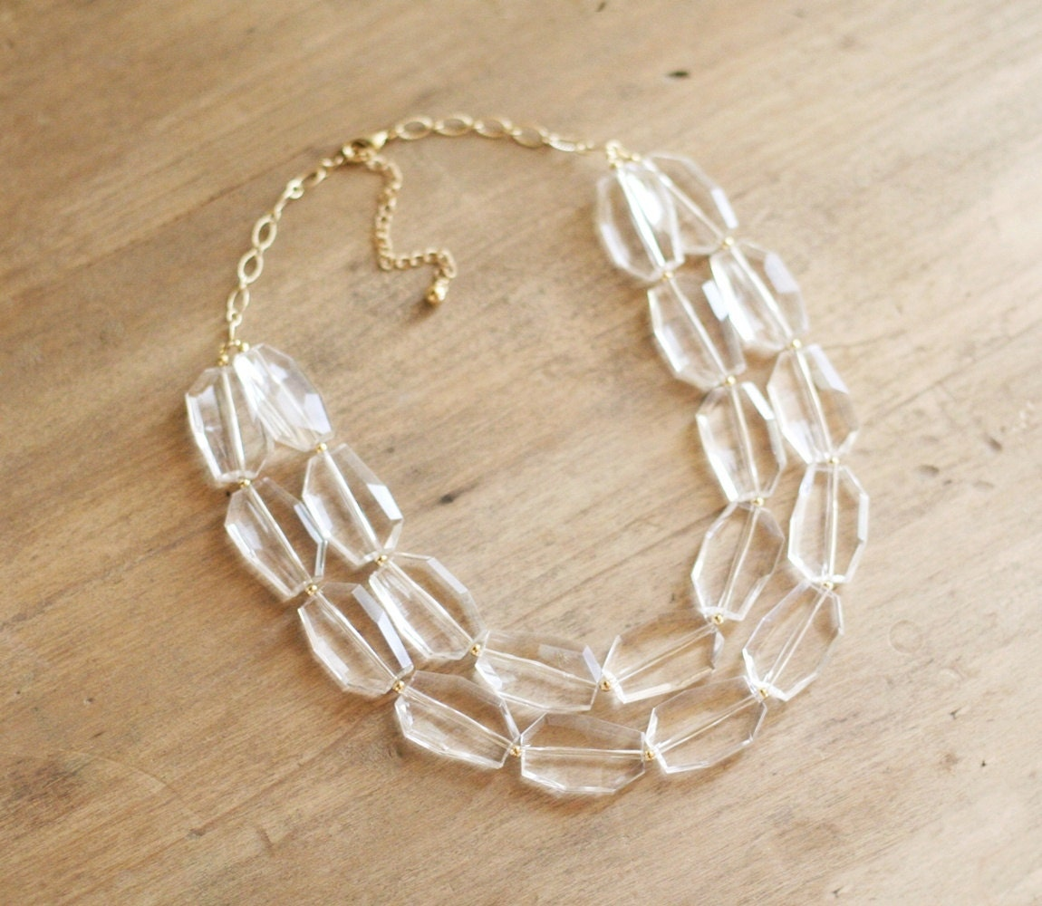 clear statement necklace clear beaded necklace by shopnestled