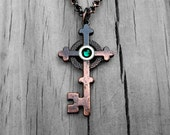 Clockpunk Steampunk Necklace, Antiqued Copper Celtic Cross Key Pendant with Emerald Swarovski Crystal & Brass Gear on Rolo Link Chain