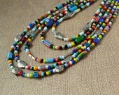 Multicolor Beaded 5 Strand Boho Statement Necklace Hippie Love Beads Bohemian Five 70s 60s Silver Multi Color Fashion Jewelry Free Shipping