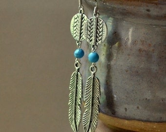 Silver Feather Long Drop Earrings Turquoise Southwest Native American Dangles Boho Chic Fashion Jewelry Bohemian Jewellery Free Shipping