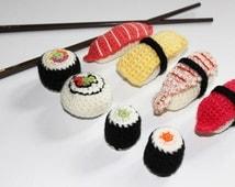 Crochet Sushi Amigurumi. Crochet Fiber / Fibre Art. ONE piece ONLY! Choose your favourite!