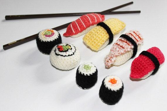 Crochet Sushi Amigurumi. Crochet Fiber / Fibre Art. ONE piece