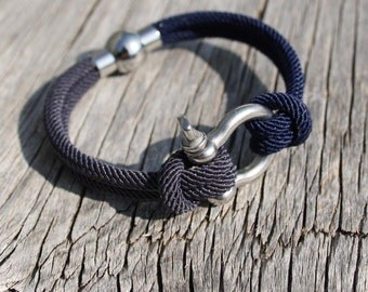 Nautical bracelet - Steel boat shackle - Montauk in Stainless steel - Waterproof