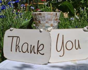 Thank You Rustic Wedding Sign: Set Hand Painted and Laser Engraved Photo Prop