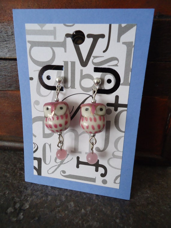Rose Pink Ceramic Painted Owl Bird Earrings Post Dangle Cat Eye Beads Silver Plated Copper