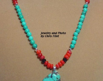 AWESOME 21 inch Turquoise and Coral neclkace - N113
