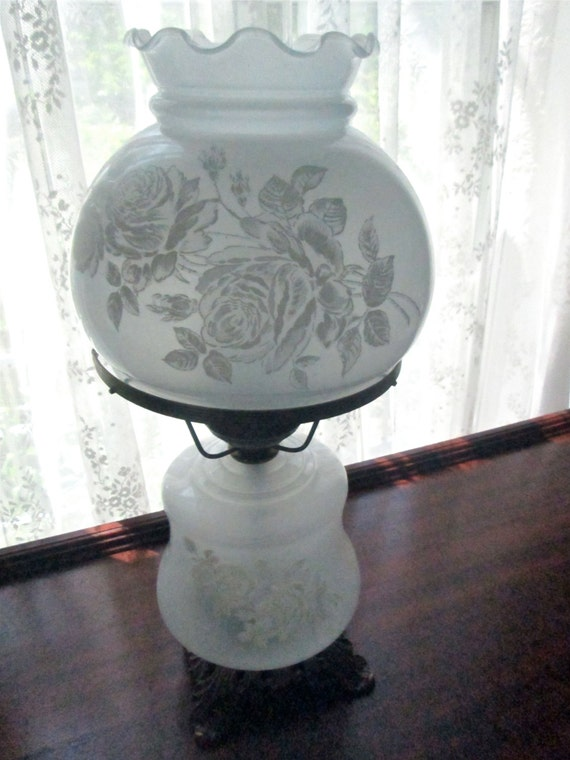 Vintage Gone With The Wind Lamp With Etched Roses By