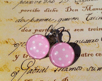 SALE - pink polka dots paper earrings - pink and white - cute gifts under 10 usd
