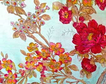 ANTIQUE FRENCH TEXTILE from Paris, hand painted silk with delicate flowers and birds with a blue silk background