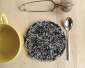 Black and light grey hand felted coaster, thick coaster, dual colour, rustic coaster